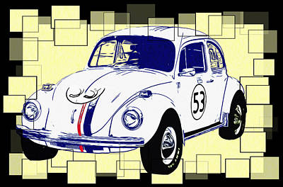 Love Bug Digital Art - Herbie The Love Bug by Bill Cannon