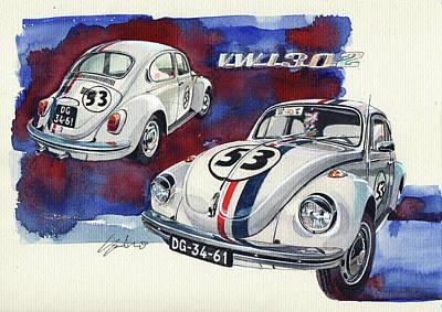 Vw Painting - Herbie Vw Beetle by Yoshiharu Miyakawa