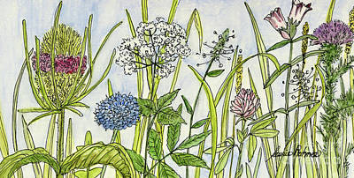 Painting - Herbs And Flowers by Laurie Rohner