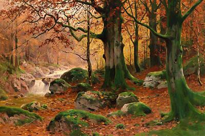 Beautiful Creek Painting - Herbstlcihe Waldlandschaft by Mountain Dreams