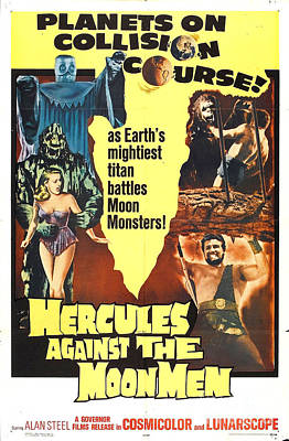 Painting - Hercules Against The Moon Men Retro Movie Poster Planets On Collision Course by R Muirhead Art