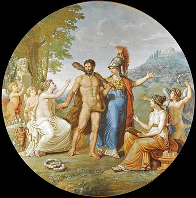 Pelagio Palagi Painting - Hercules At The Crossroads Between Vice And Virtue by Attributed to Pelagio Palagi