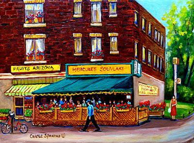 Resto Bars Painting - Hercules Souvlaki Montreal by Carole Spandau