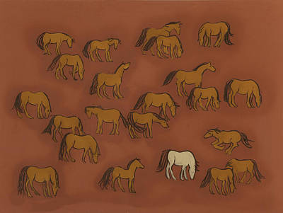 Wild Horse Painting - Herd 1 by Sophy White