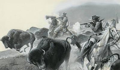 Cowboy Hat Painting - Herd Of Buffalo by Severino Baraldi