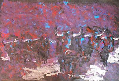 Herd Of Bulls Art Print