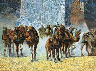 Painting - Herd Of Camels by Paul Marie Lenoir