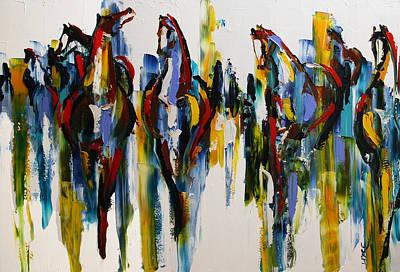 Herd Of Carousel Ponies Art Print