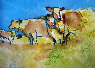 Painting - Herd Of Cows - Against The Blue by Mike Jory