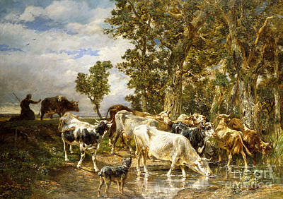 Cattle Drive Painting - Herd Of Cows At A Drinking Pool by Charles Emile Jacque
