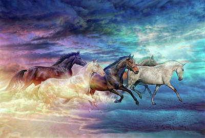 Digital Art - Herd Of Horses In Pastel by Lilia D