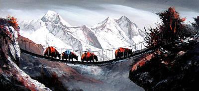 Himalaya Painting - Herd Of Mountain Yaks Himalaya by Whimsy Art