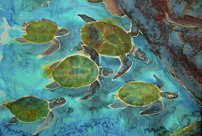 Hawaii Sea Turtle Mixed Media - Herd Of Turtles by Jill Targer
