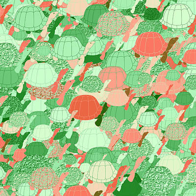 Digital Art - Herd Of Turtles Pattern by Methune Hively