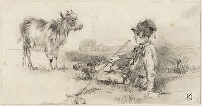 Het Painting - Herdersjongen In Het Gras Gezeten by Johan Danial