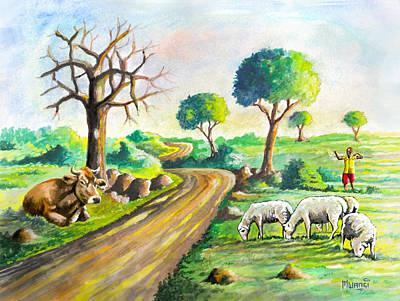 Animal Behavior Painting - Herding Near The Road by Anthony Mwangi