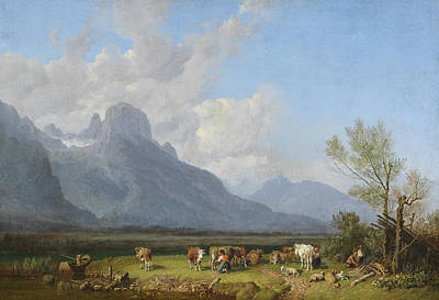 Painting - Herdsmen On The Lake Shore by Heinrich Burkel