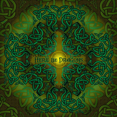 Digital Art - Here Be Dragons by Celtic Artist Angela Dawn MacKay