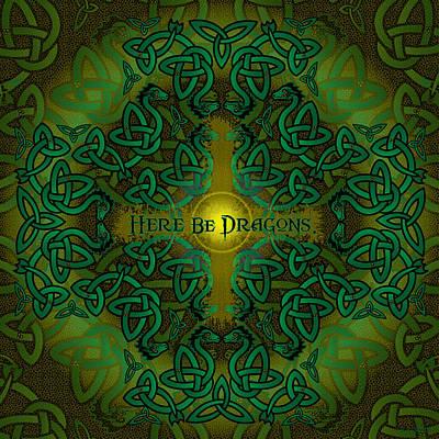 Dragon Digital Art - Here Be Dragons by Celtic Artist Angela Dawn MacKay
