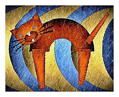 Here Blue Kitty Kitty Art Print by Terry Mulligan