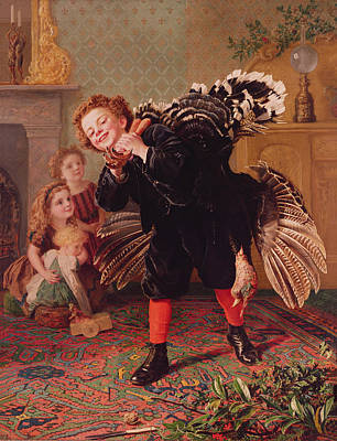 Turkey Painting - Here Comes The Gobbler by Sophie Anderson