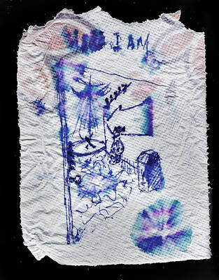 Drawing - Here I Am Napkin Doodle by Ed Meredith