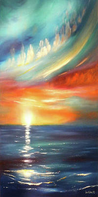 Thomas Kinkade Royalty Free Images - Here It Goes - Colorful Sunset Royalty-Free Image by Gina De Gorna