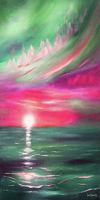 Painting - Here It Goes - In Teal And Magenta Vertical Sunset by Gina De Gorna