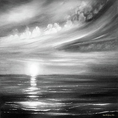 Painting - Here It Goes - Square Sunset In Black And White by Gina De Gorna