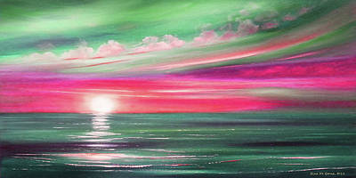 Painting - Here It Goes In Teal And Magenta Panoramic Sunset by Gina De Gorna