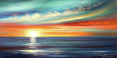 Painting - Here It Goes - Panoramic Sunset by Gina De Gorna