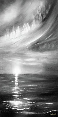 Painting - Here It Goes -vertical Sunset In Black And White by Gina De Gorna