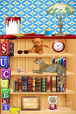 Bookshelf Painting - Here Kitty Kitty by L Wright