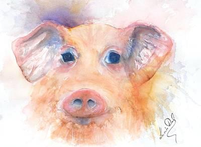 Here Piggy Art Print by Lucia Del