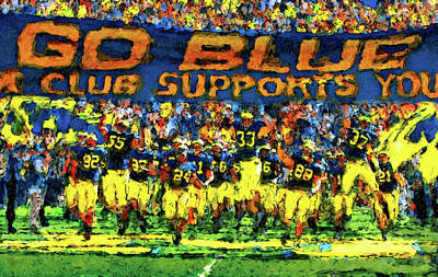 University Of Michigan Wall Art - Painting - Here We Come by John Farr