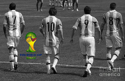 Futbol Club Barcelona Photograph - Here We Come Lionel Messi Fifa 2014 Black And White by Lee Dos Santos