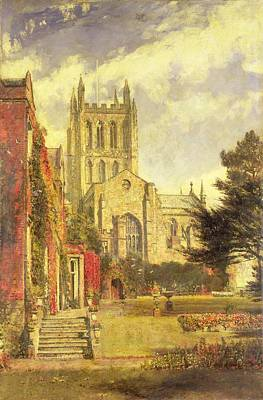 Village Scene Painting - Hereford Cathedral by John William Buxton Knight