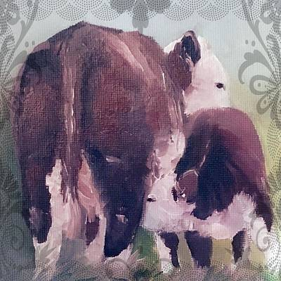 Painting - Hereford Cow Calf by Michele Carter