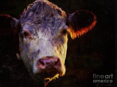 Mixed Media - Hereford Cow by Michele Carter