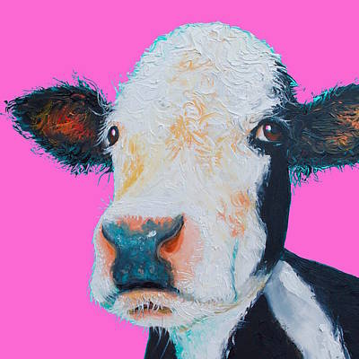Jersey Cow Painting - Hereford Cow On Hot Pink by Jan Matson