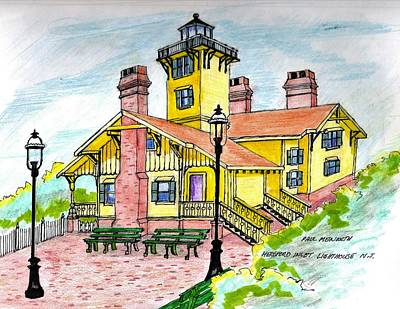 Drawing - Hereford Lighthouse Nj by Paul Meinerth