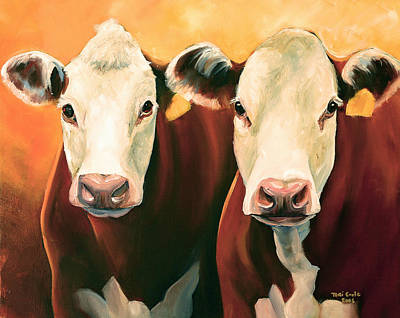 Animals Paintings - Herefords by Toni Grote