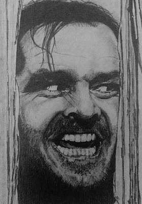 Jack Nicholson Drawing - Here's Johnny by Kate R