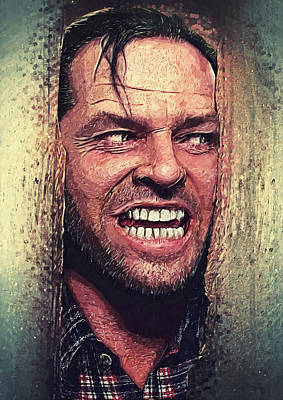 The Shining Digital Art - Here's Johnny - The Shining  by Taylan Apukovska