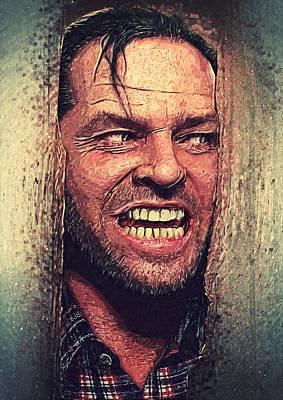 Kubrick Digital Art - Here's Johnny - The Shining  by Taylan Apukovska
