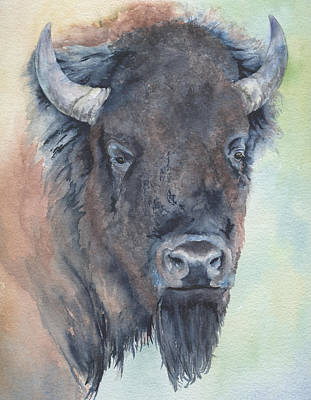 Painting - Here's Looking At You - Bison by Marsha Karle