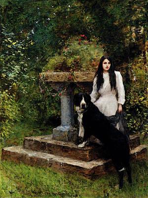 Digital Art - Herkomer Sir Hubert Von A Young Girl And Her Dog by Sir Hubert von Herkomer