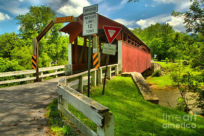 Photograph - Herline Covered Bridge by Adam Jewell