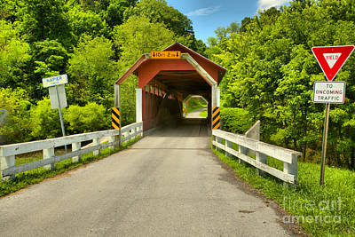 Photograph - Herline Covered Bridge Old Country Road by Adam Jewell