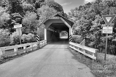 Photograph - Herline Covered Bridge Old Country Road Black And White by Adam Jewell